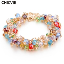 CHICVIE Handmade Gold Crystal Bracelets For Women Girls Best Friends Famous Brand Charm Bracelet Jewelry 2017 Pulseras SBR140193