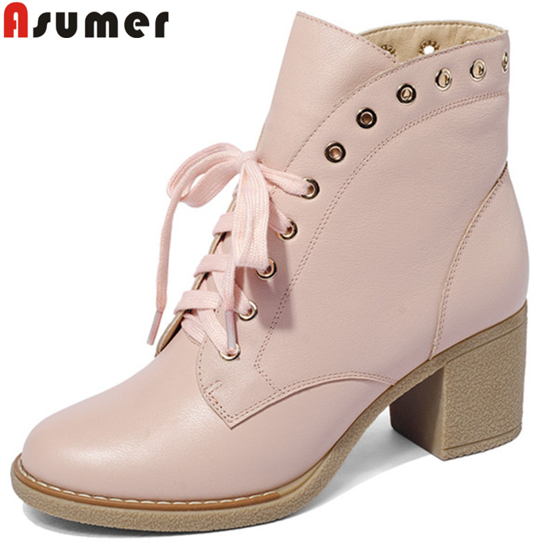 ASUMER 2018 fashion autumn winter boots for women round toe lace up genuine leather boots thick high heels ankle boots women