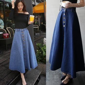 b3a3076fa Faldas de mezclilla Vintage Danjean Harajuku Otoño Invierno alta cintura  A-line faldas largas de Mujer Faldas de Jean hasta el tobillo Jupe Femme