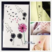 1PC Flying Birds Fariy Dandelion Temporary Tattoo Sticker Women PAQ-019 Kids Small Birds Flower Black Pink Tattoo For Girl Child