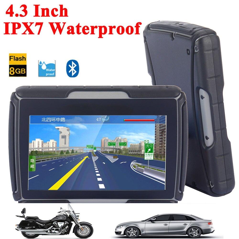 Haute Qualité 4.3 Pouce Moto GPS Voiture GPS Navigation IPX7 Étanche 8 GB Memroy Interne Bluetooth BT Avec CARTES Livraison gratuite