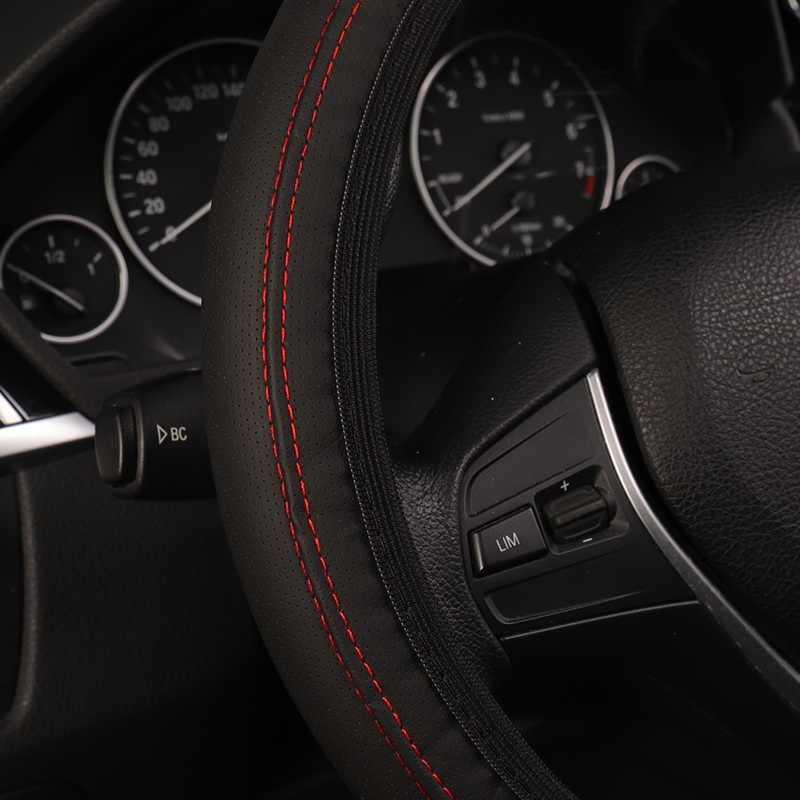 Cuir élastique simplifié Type sans anneau intérieur couverture de volant de voiture protecteur automatique dans les accessoires intérieurs