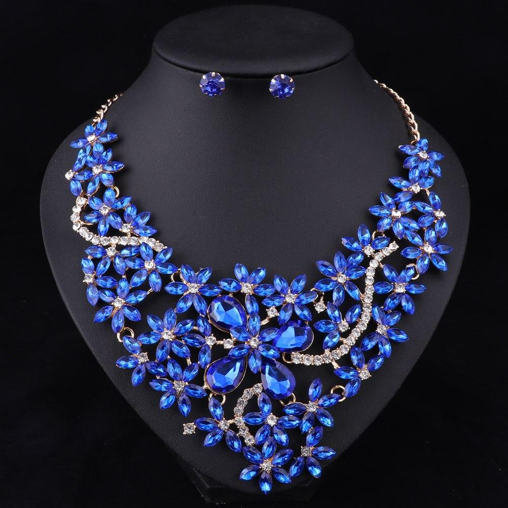 5 Farbe Brautschmuck Sets Hochzeit Halskette Ohrringe Für Bräute - Modeschmuck - Foto 5