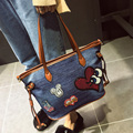 Women canvas bag tote bag denim handbag leisure shoulder bags famous brand shopping bag Sequins cartoon embroidery bolsas 812