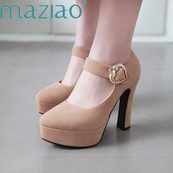 fdfcbc6df MAZIAO nueva primavera Mary Jane bombas mujeres acuden plataforma Tacón  cuadrado zapatos de tacón alto amor hebilla zapatos de fiesta Ugged zapatos  de mujer ...
