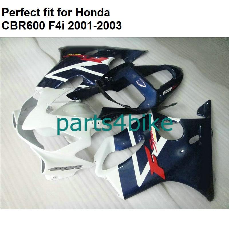 Injection molded fairing for Honda CBR 600 F4i 2001 2002 2003 white black fairings kit CBR600F4i 01 02 03 OL71