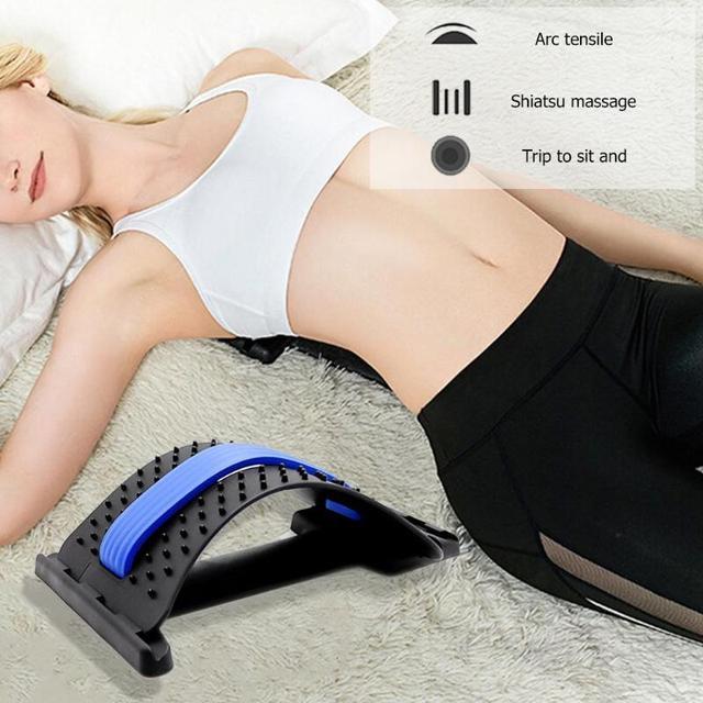 1pc Back Stretch Equipment Massager Massageador Magic Stretcher Fitness Lumbar Support Relaxation Spine Pain Relief random color 3