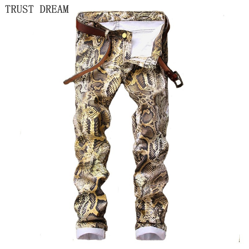 Spring Summer European Style Men Slim Floral Jeans Printed Snakeskin Pattern Fashion Man Street Personal Cool Amazing Jean