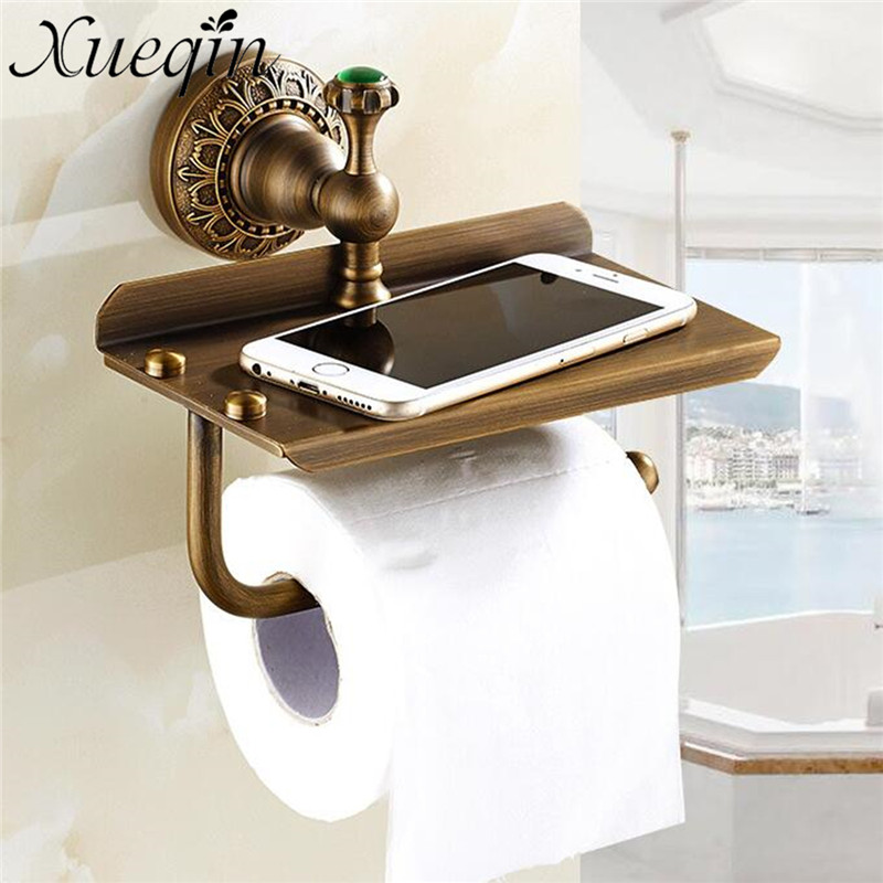 Xueqin Gold Bathroom Hotel Paper Holder Retro Copper Wall Mounted Roll Tissue Storage Shelf Towels Phone Book Holders инерционная машинка игруша цвет желтый
