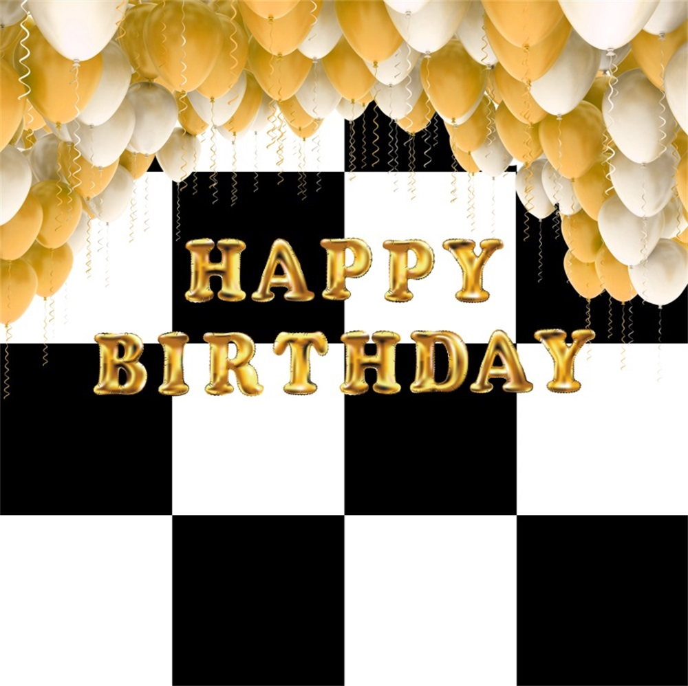 Laeacco Balloons Black White Grid Baby Birthday Party Photography Backgrounds Customized Photographic Backdrops For Photo Studio ...
