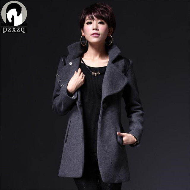 2017 New Winter Coat Women Fashion Single Button Thicken Slim Long Style Wool Blends high quality slim leather jacket Coats