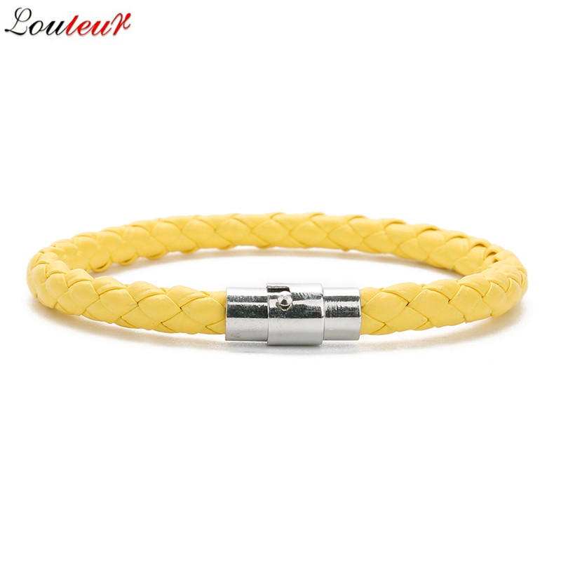LOULEUR New Colorful Red Blue Leather Bracelet for Men Women Braided Stainless Steel Leather Male Bracelets Bangles Men Jewelry in Charm Bracelets from Jewelry Accessories