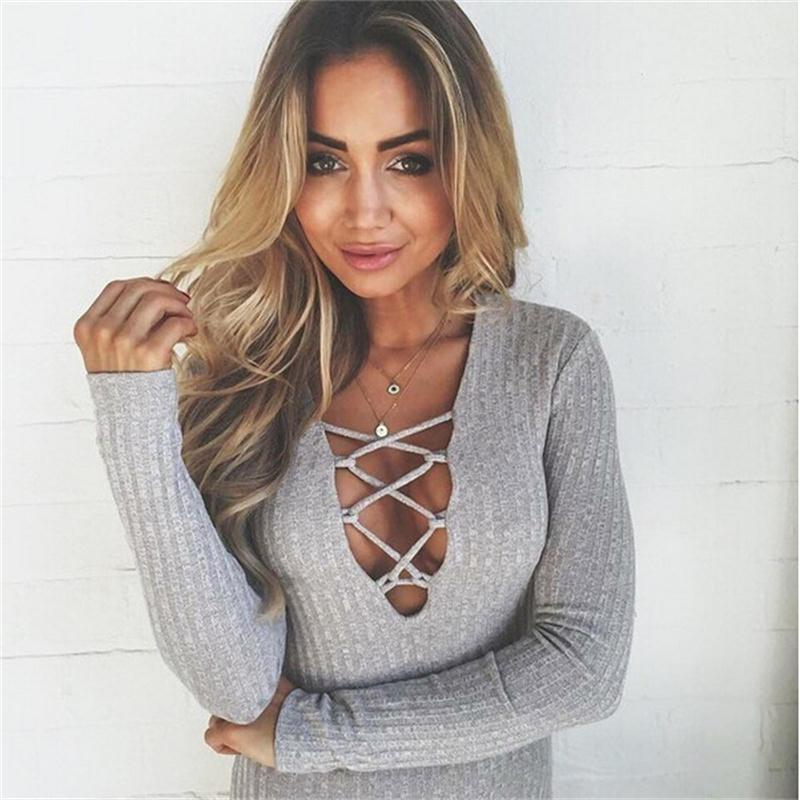Rompers Women Jumpsuit 2015 Sexy Bodysuit Long Sleeve Gray Cotton Short Jumpsuit High Waist Bandage Bodycon Nightclub Overalls