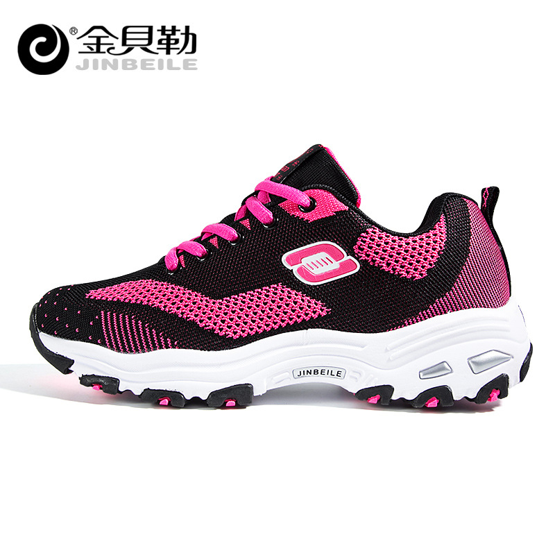 ФОТО 2017 Direct Selling New Jinbeilecouple Autumn And Winter Running Shoes Increased Sneakers Breathable Comfortable Korean Wave