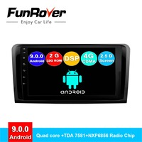 Funrover 2 din android 9.0 car dvd multimedia for Mercedes Benz ML ML350 W164 GL X164 ML320 ML280 GL350 GL450 radio gps navi DSP