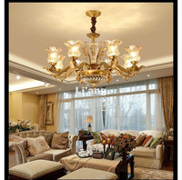 Free Shipping European Brass Antique Crystal Chandelier Lingting Luxurious LED AC Brass Crystal Lamp Lustre Suspension Lighting