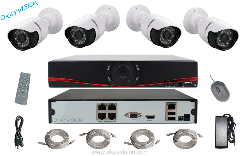 4CH 720P POE NVR Kit Onvif 4 Channel POE NVR Kit Weatherproof Bullet Security IP Camera
