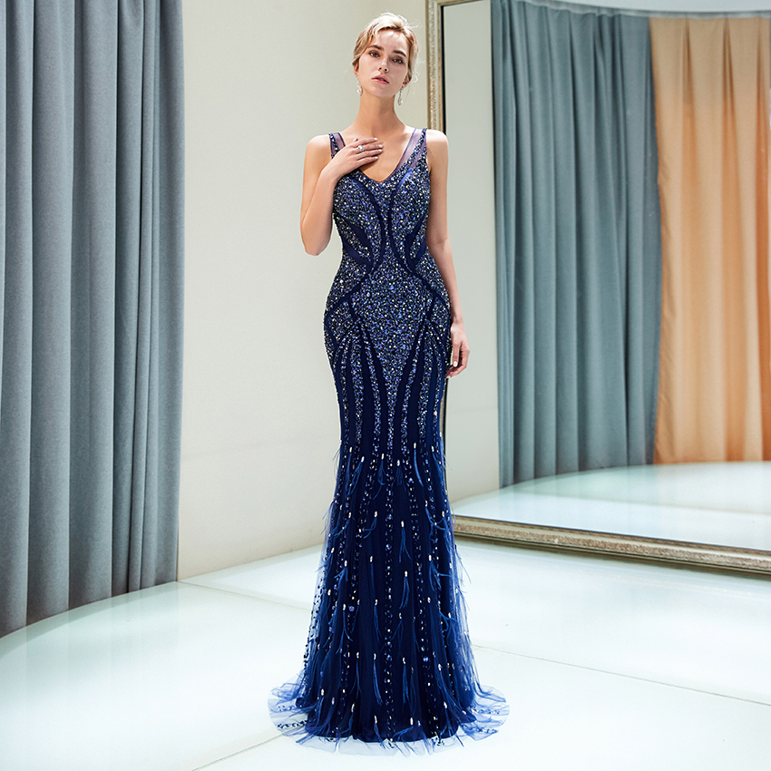 2018 Sexy Navy Blue   Evening     Dresses   Mermaid Cut V Necline With Luxury Beading Crystal   Evening   Gown Party   Dresses   Backlesses