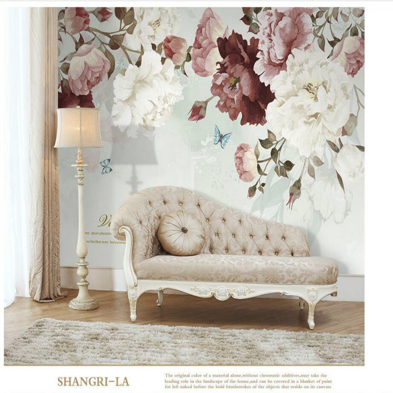 Nordic Hand-painted Retro Pastoral Flower 3D Wallpapers for Wall  Wall Paper Vintage Decorative Painting Home Improvement