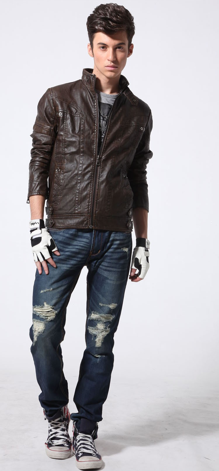 PU Leather Jacket Men 2016 Fall Winter Fashion Faux Fur Bomber Motercycle Biker Jacket High Quality Plus Velvet Casual Outwear (2)