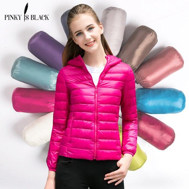 bdc349d69 US $32.99   Pinky Is Black Female Warm Winter Jacket Women Coat Thin Brand  90%Duck Down Parka Ultra light Down Jacket Short Elegant Outwear-in Down ...