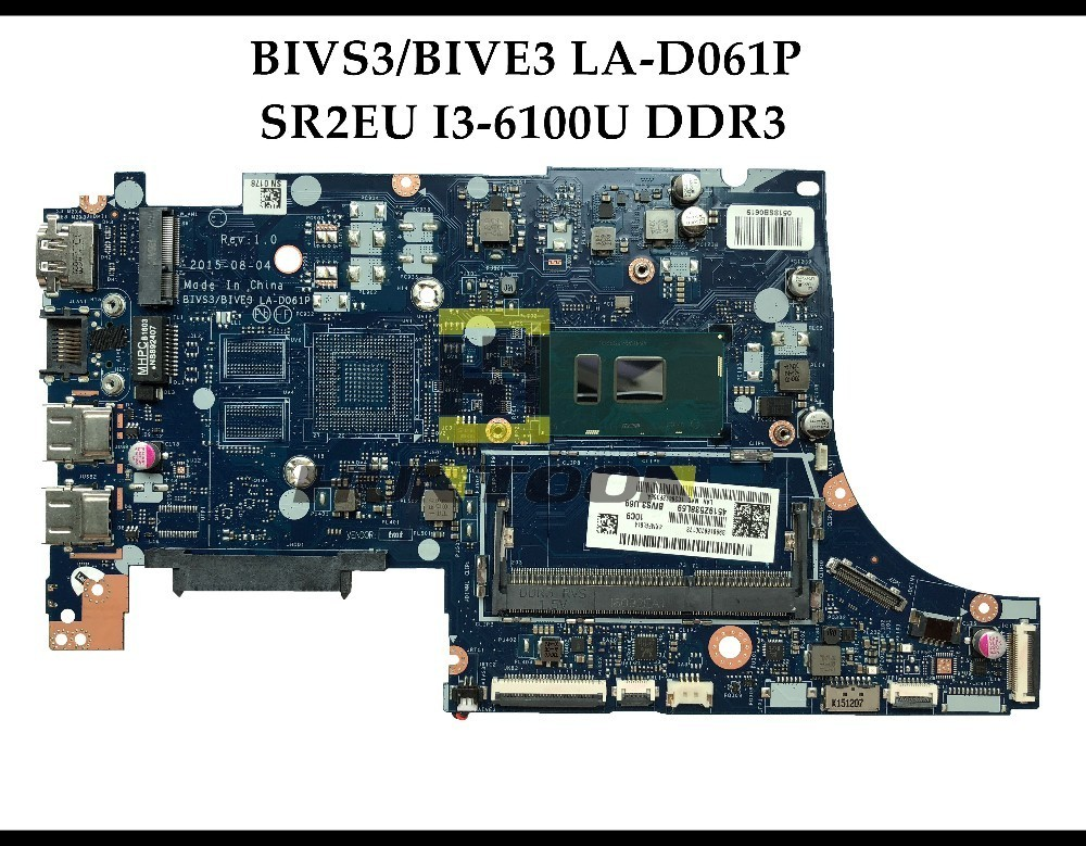 High quality BIVS3 BIVE3 LA D061P FOR Lenovo E31 80 Laptop Motherboard SR2EU I3 6100U DDR3