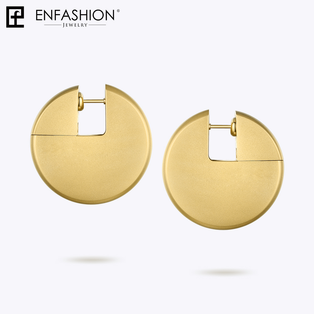 Enfashion Discos Drop Earrings For Women Gold Color Big Circle Statement Stainless Steel Earings Fashion Jewelry Oorbellen 1053 gold big circle geometric statement stud earrings