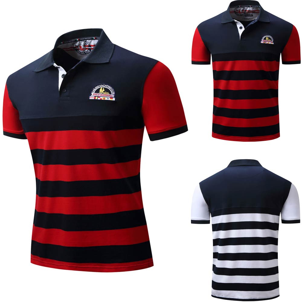 2018 Polo Shirt Men Stripe Casual Button Splicing Pullover Short Sleeve T-shirt Top Blouse Clothes Wholesale Drop Shipping