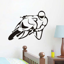 Sport Motorbike Vinyl Removable Art Decal Home Decor Boys Room Vehicle Wall Sticker Custom Color Available vinilos paredes ZA506