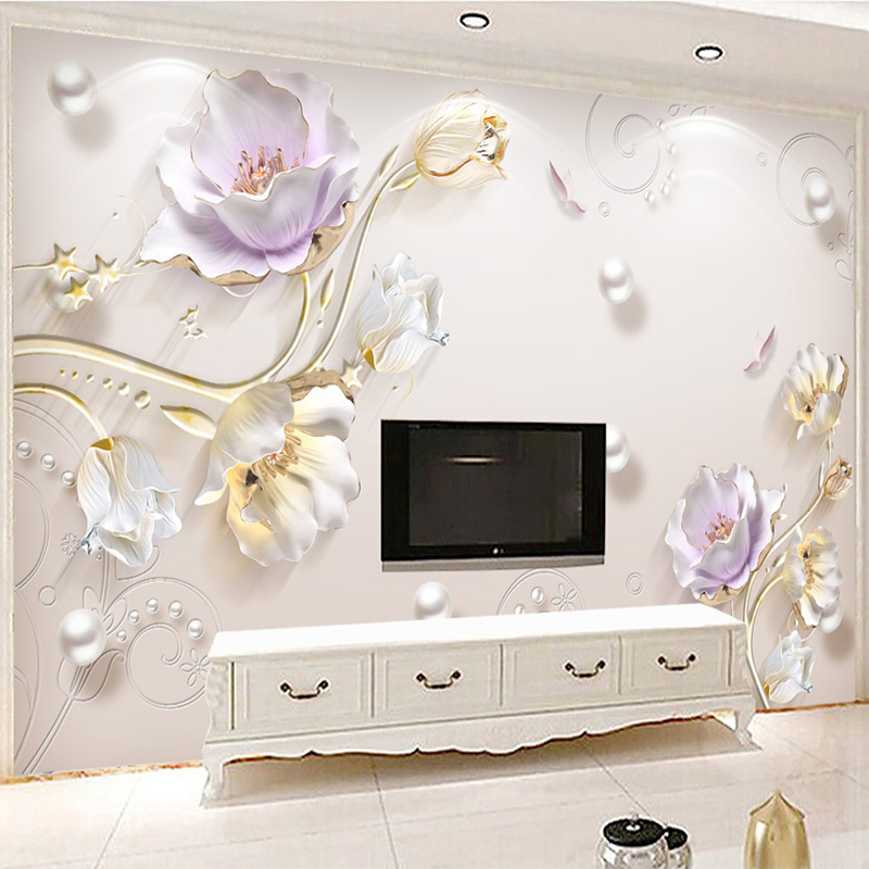 European Style 3D Embossed Flowers Wallpaper Living Room TV Sofa Hotel Background Wall Covering Luxury Wallpaper Papel De Parede papel de parede roses closeup flowers photo wallpaper living room tv background sofa wall bedroom restaurant bar 3d mural