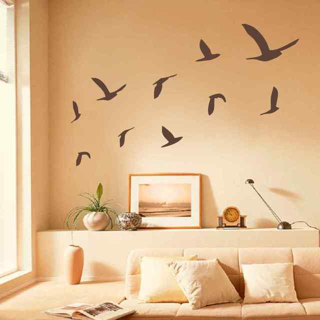Bird BATTOO Large Wall Decals   Flying Bird Wall Stickers, Set Of 10 Birds  Minimal