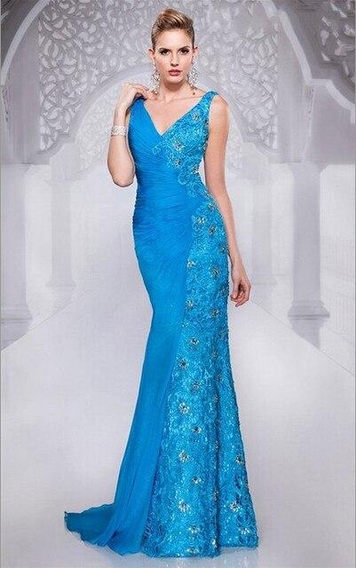 Elegant Fashion 2015 Evening Gown Dress Patterns Light Blue Lace ...