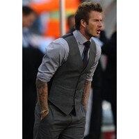 Venta caliente gris novio Chalecos groomsmensbest hombre chaleco por encargo tamaño y color cinco Botones boda cena waistcoat