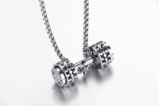 Фото модное мужское ожерелье с гантелями кулоны высокого качества
