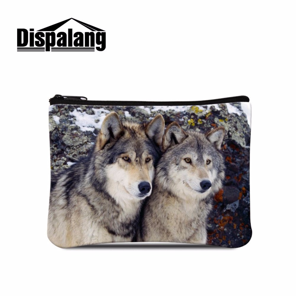 Dispalang cool animal pattern zipper coin purse for cell phone/credit card/money/key wolf print coin wallet bag mini women bags