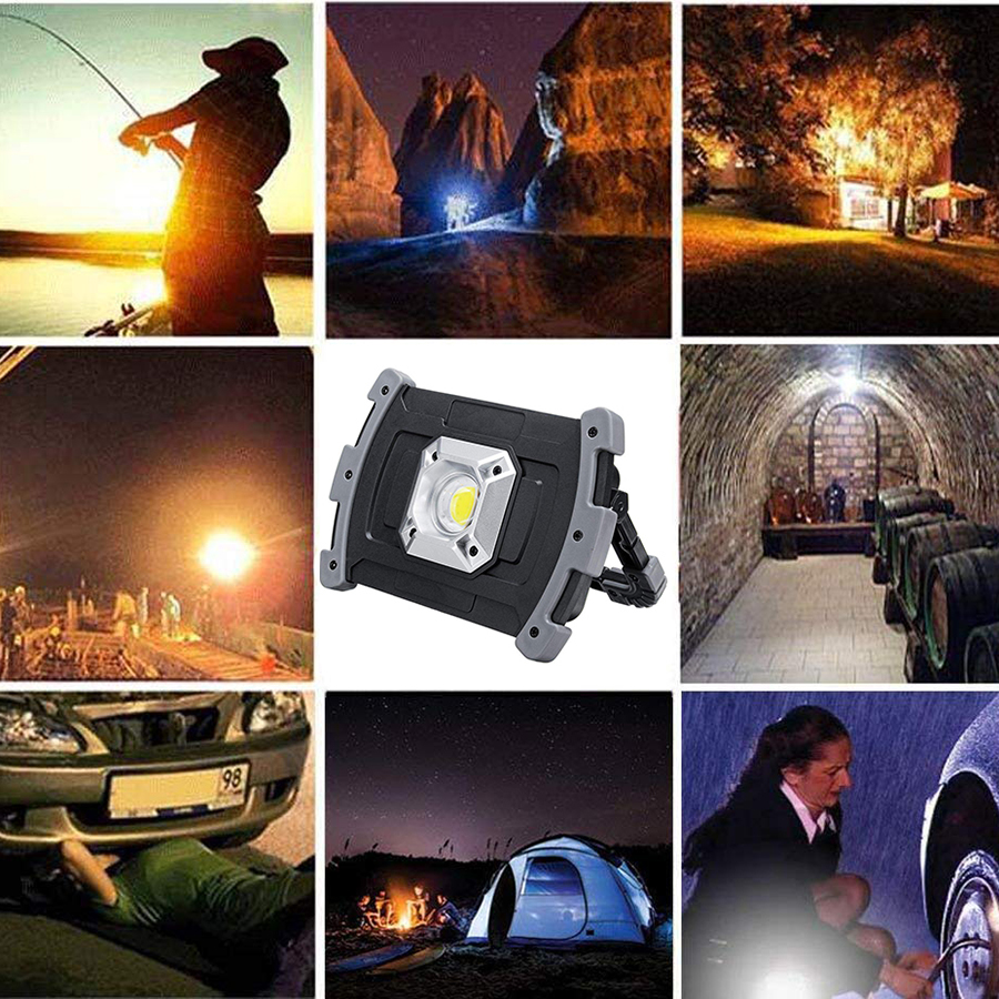 Купить с кэшбэком 20W Led Portable Spotlight 18650 Battery USB Rechargeable Led Work Lamp Led Latern Flashlight Outdoor Light For Hunting Camping