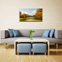 Golf Course Poster Print Wall Art Autumn Park Canvas Painting Print Home Wall Decor Living Room Golden Leaves Tree View Artwork