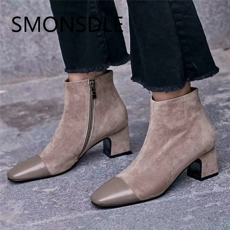 SMONSDLE 2018 New Style Autumn Winter Suede Square Toe Women Ankle Boots Side Zip Low Thick Heels Women Boots Black Shoes Women smonsdle 2018 new woman ankle boots shoes side zip thin high heels pointed toe kid suede boots designer woman autumn winter boot