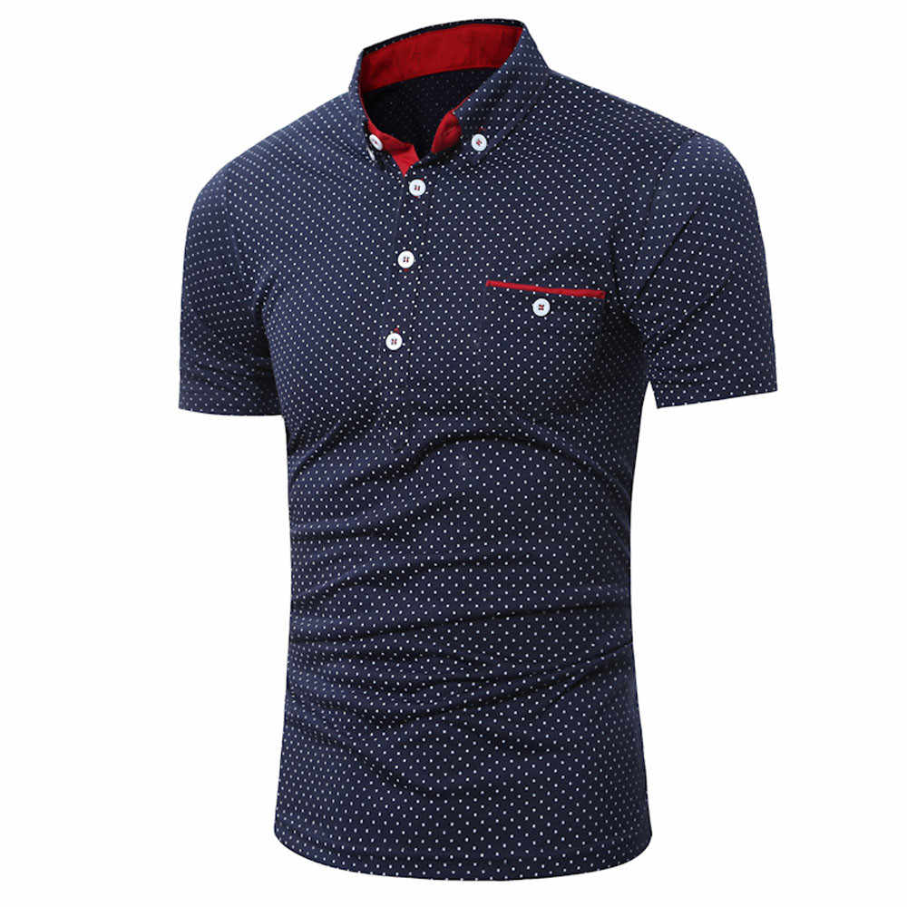 Mens Shirts Casual Slim Fit Turn Down Collar Short Sleeve Dot Print Button Pocket Tops For Busines Mens Fashion Blouse Pullover