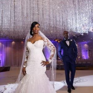 Image 3 - Mermaid Wedding Dress Sleeves 2019 Vestidos de novia Vintage Lace Sweetheart Neck Bridal Gown Backless Wedding Gowns