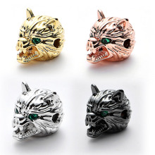 Hole 2MM Fierce Wolf Beads For Jewelry Making Findings Gold Silver Colour Animal Pave CZ Crystal Spacer Charms Bead