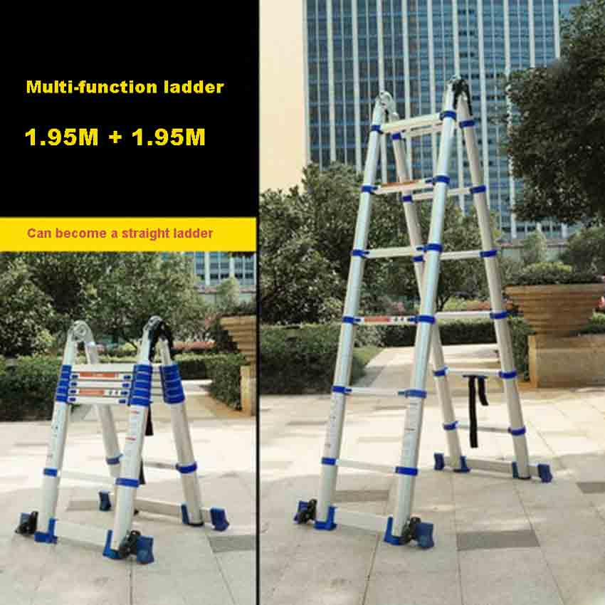 JJS511 High Quality Multi-function Ladder Portable Household Folding Ladder Thick Aluminum Alloy Engineering Ladder(1.95M+1.95M)