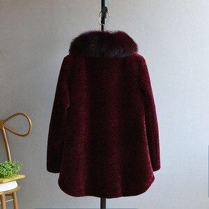 Image 3 - OFTBUY 2020 חורף מעיל נשים אמיתי פרווה מעיל גז כבשים מעיל נשי צמר בגיל העמידה אמא טבעי שועל פרווה צווארון עבה חם