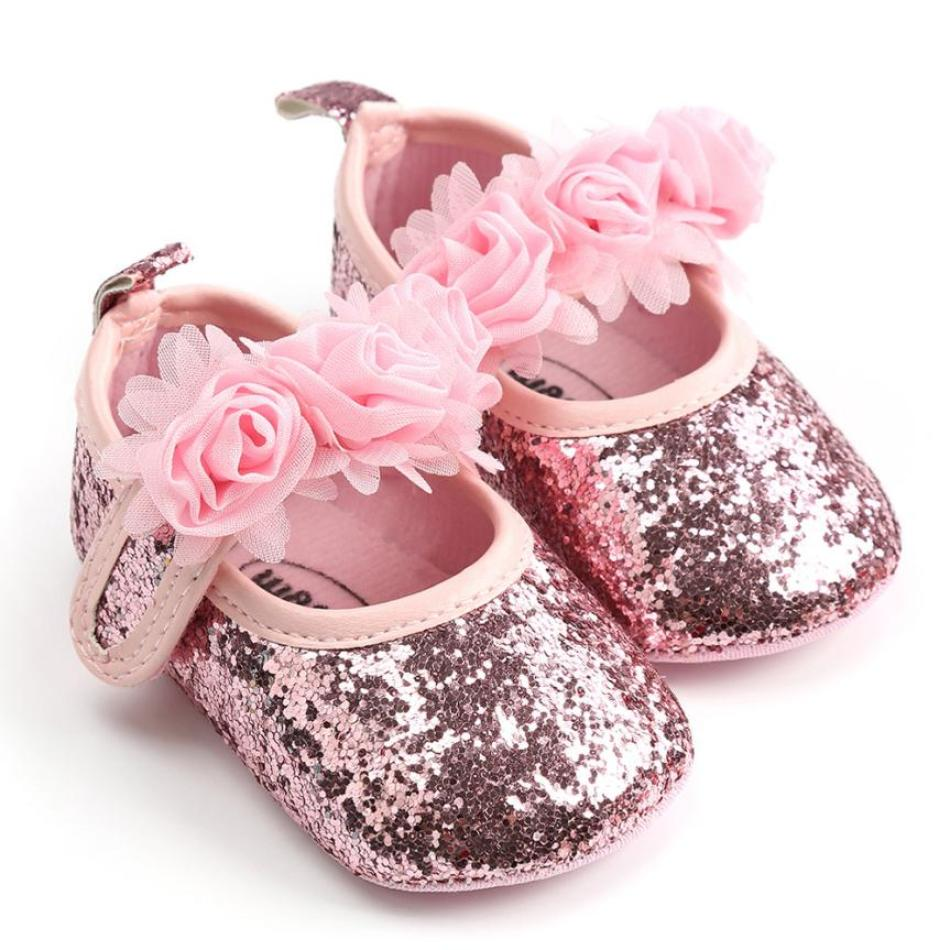 Toddler First Walkers Kid Shoes Baby Girl Sequins Princess Flower Fashion Toddler First Walkers Kid Shoes in summer hot sale