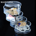 New Fashion 1PC Poly Styrene Round Shape Rotatable Drawers Makeup Case Cosmetic Jewelry Display Rack Box