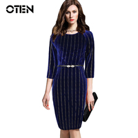 OTEN Plus Size 4XL Blue Velvet Dress Women 3 4 Sleeve Fashion Slim Elegant Laides Office
