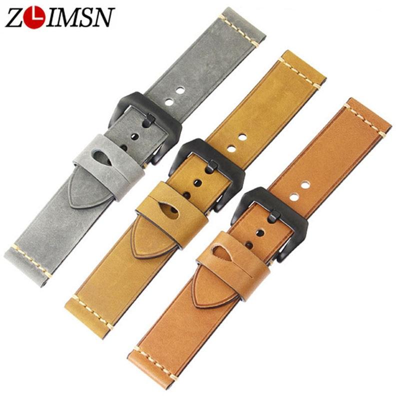 ZLIMSN Nuevas correas de reloj de cuero genuino para hombres Adecuado - Accesorios para relojes