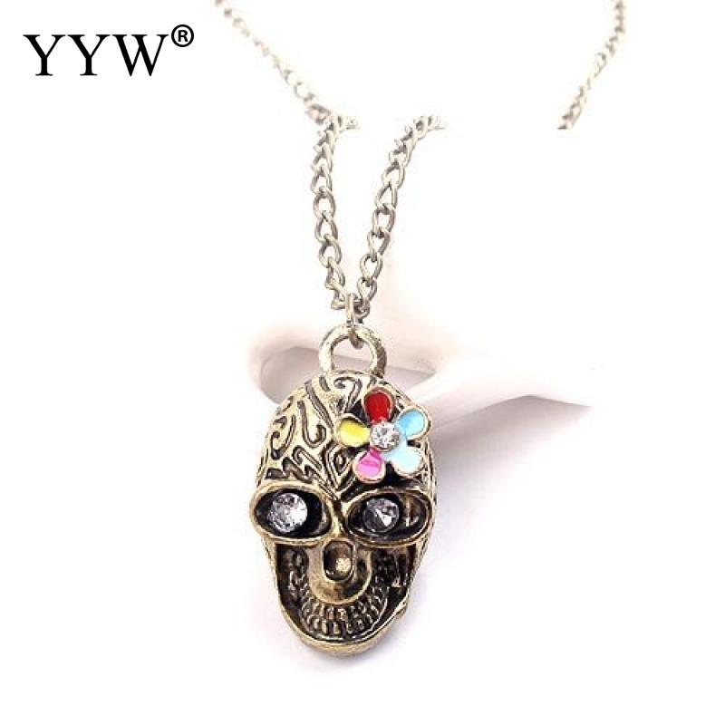 Zinc Alloy Sweater Chain Necklace for men 2017 designers skull devil demon crossbones antique vintage imitation antique