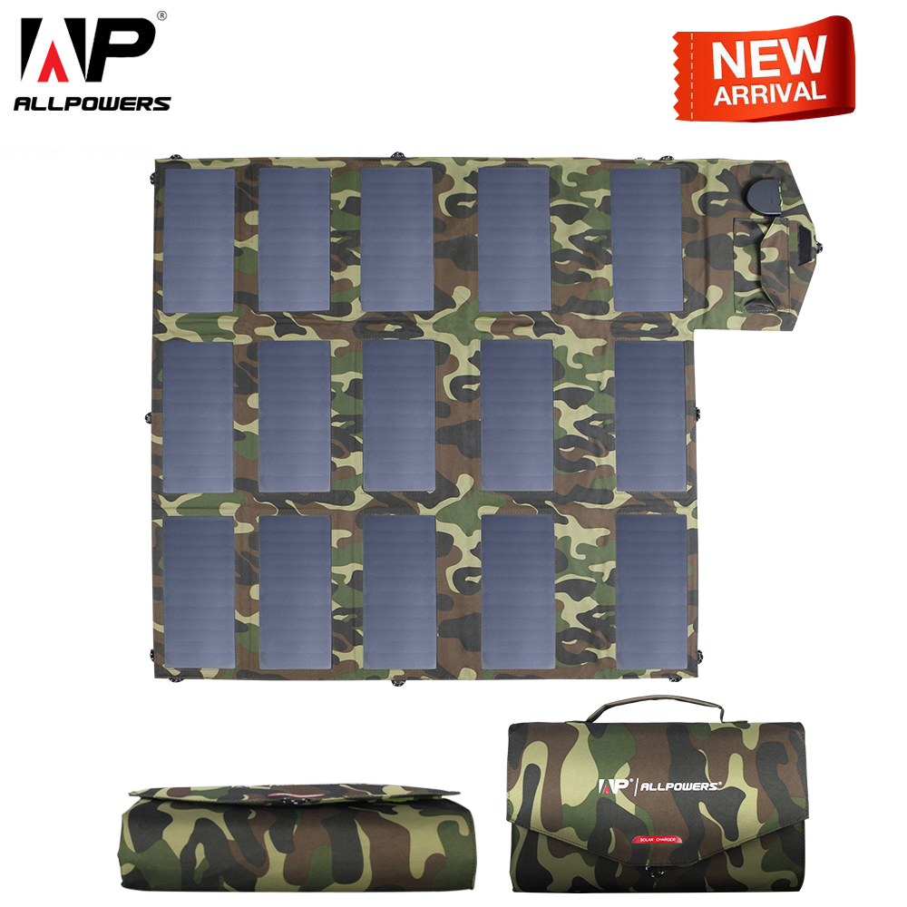 ALLPOWERS Mais Novo Painel Solar 100 W Carregador Solar Camuflagem Cor 5 v 12 V 18 V Ao Ar Livre Solar Portátil Dobrável carregador USB Porto DC