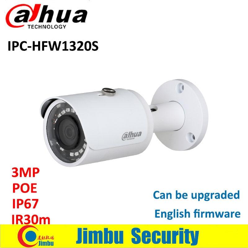 DAHUA 3MP POE IPC-HFW1320S IP Bullet Camera 1080P waterproof IP67 HFW1320S security CCTV camera can update English firmware original english firmware dahua full hd 4mp poe ip camera dh ipc hfw4421s bullet outdoor camera
